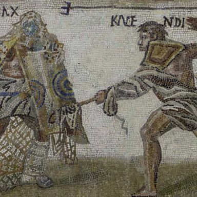Roman gladiators mosaic
